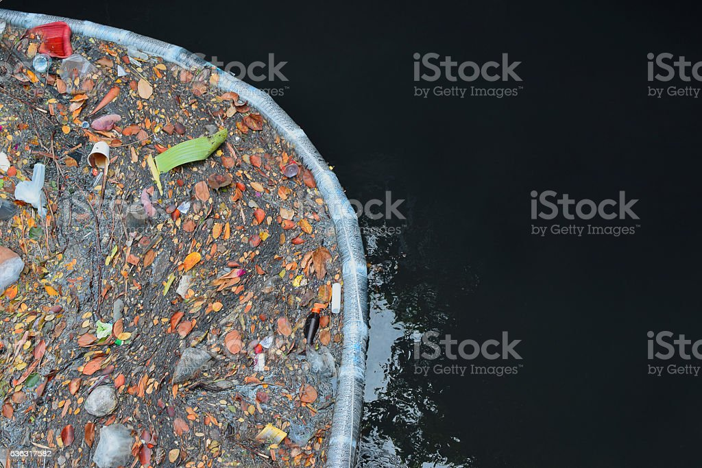 Pollution in water stock photo