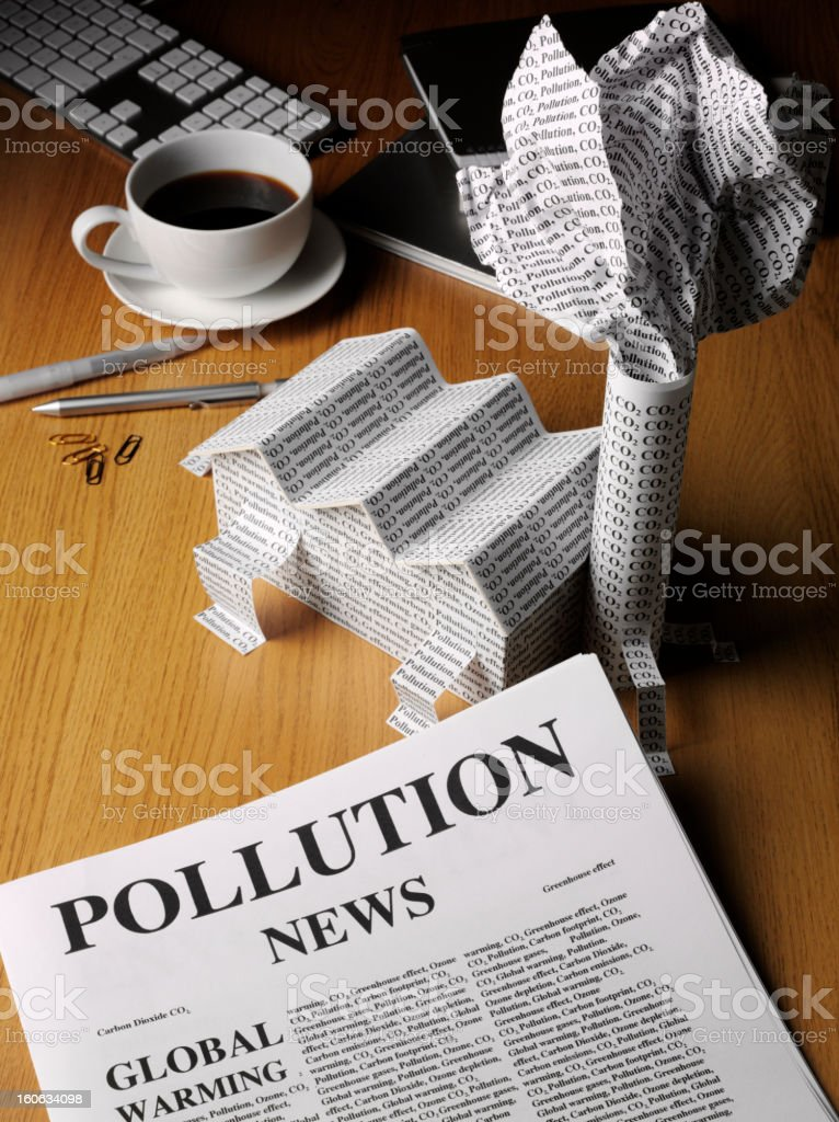Pollution News Paper in a Office royalty-free stock photo