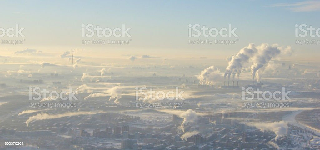 Pollution of the environment in the winter in the city.