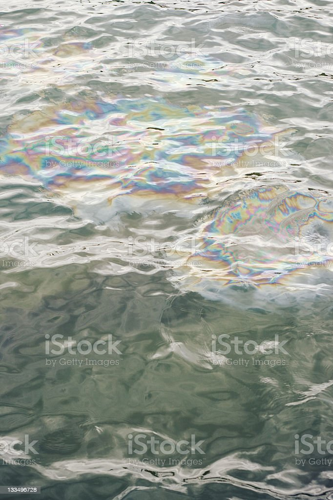 Pollution Oil Spill in Ocean Water royalty-free stock photo