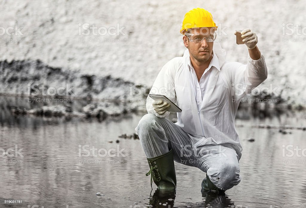 Pollution Scientist at work stock photo