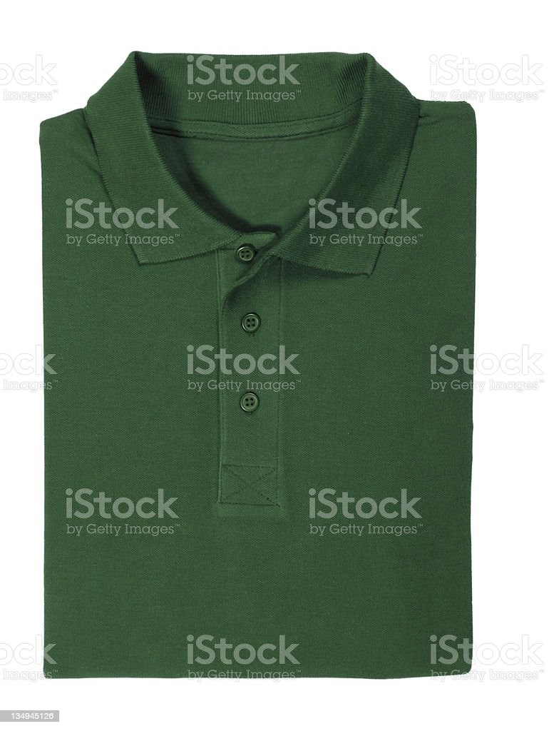 polo green shirt folded - clipping path royalty-free stock photo