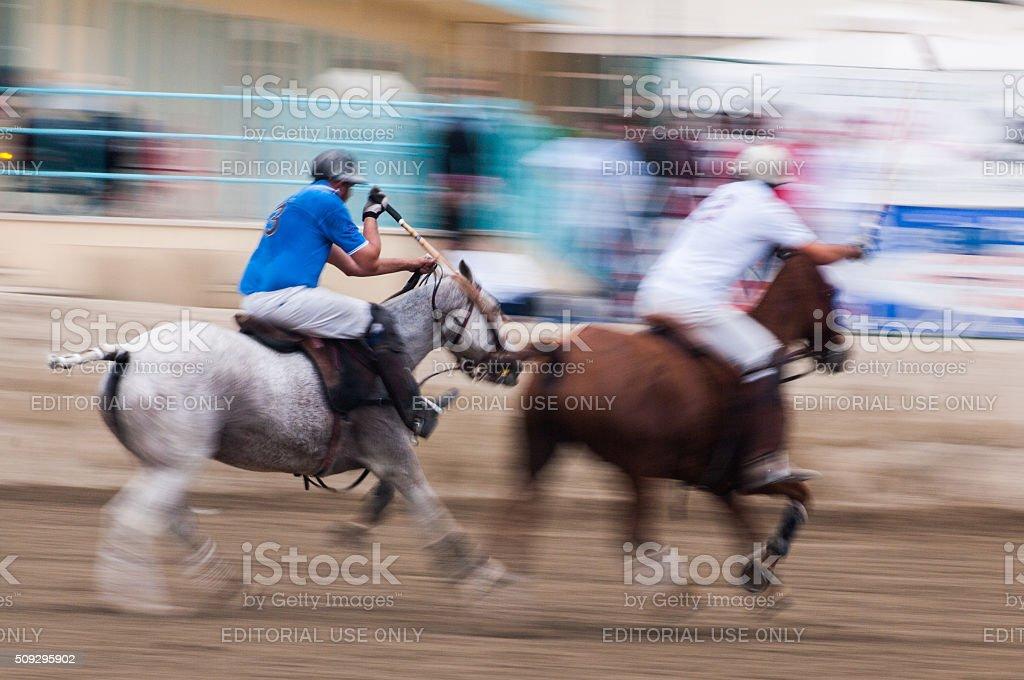 Polo in Viareggio Beach stock photo