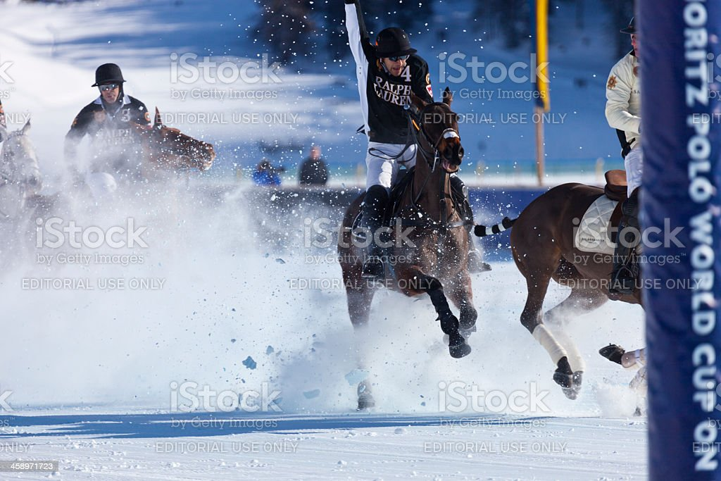 Polo Player Charging stock photo