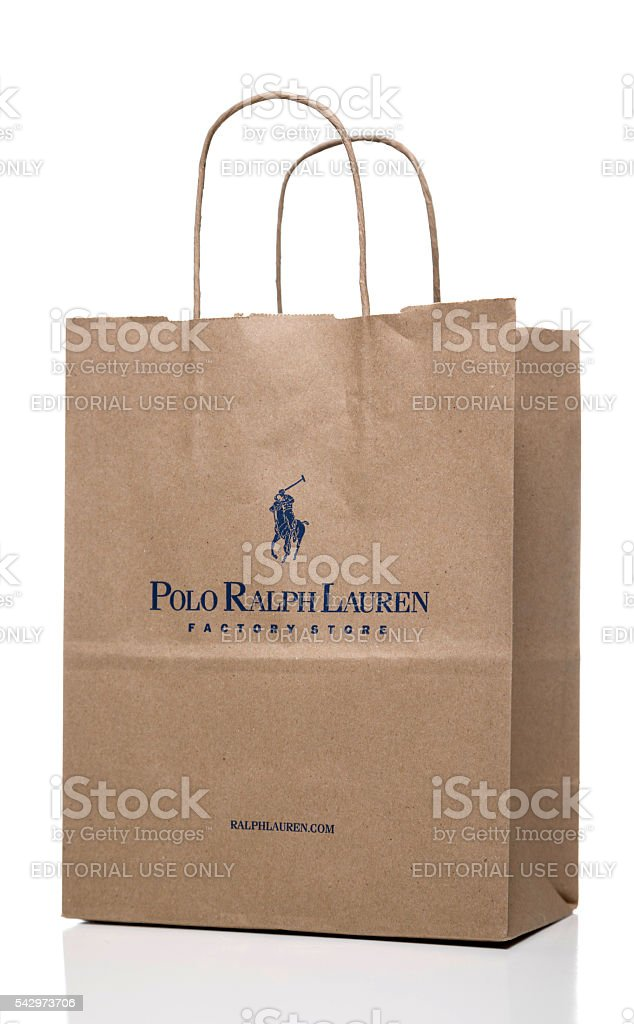 Polo Ralph Lauren Factory Store paper bag side stock photo