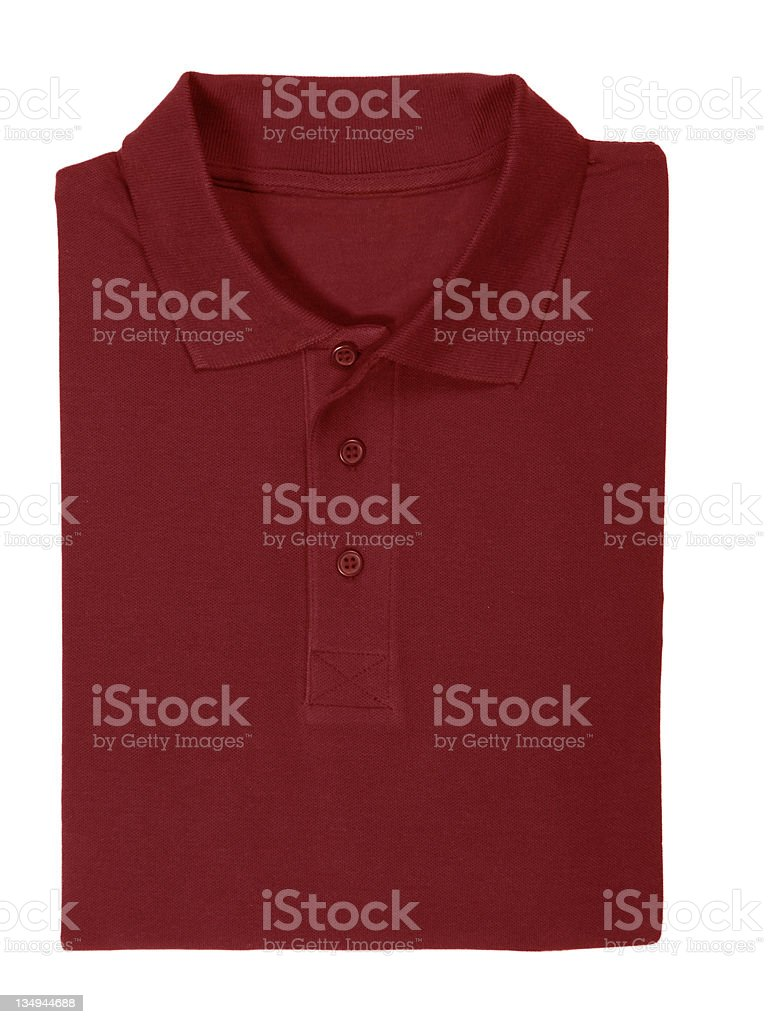 polo red shirt folded - clipping path royalty-free stock photo