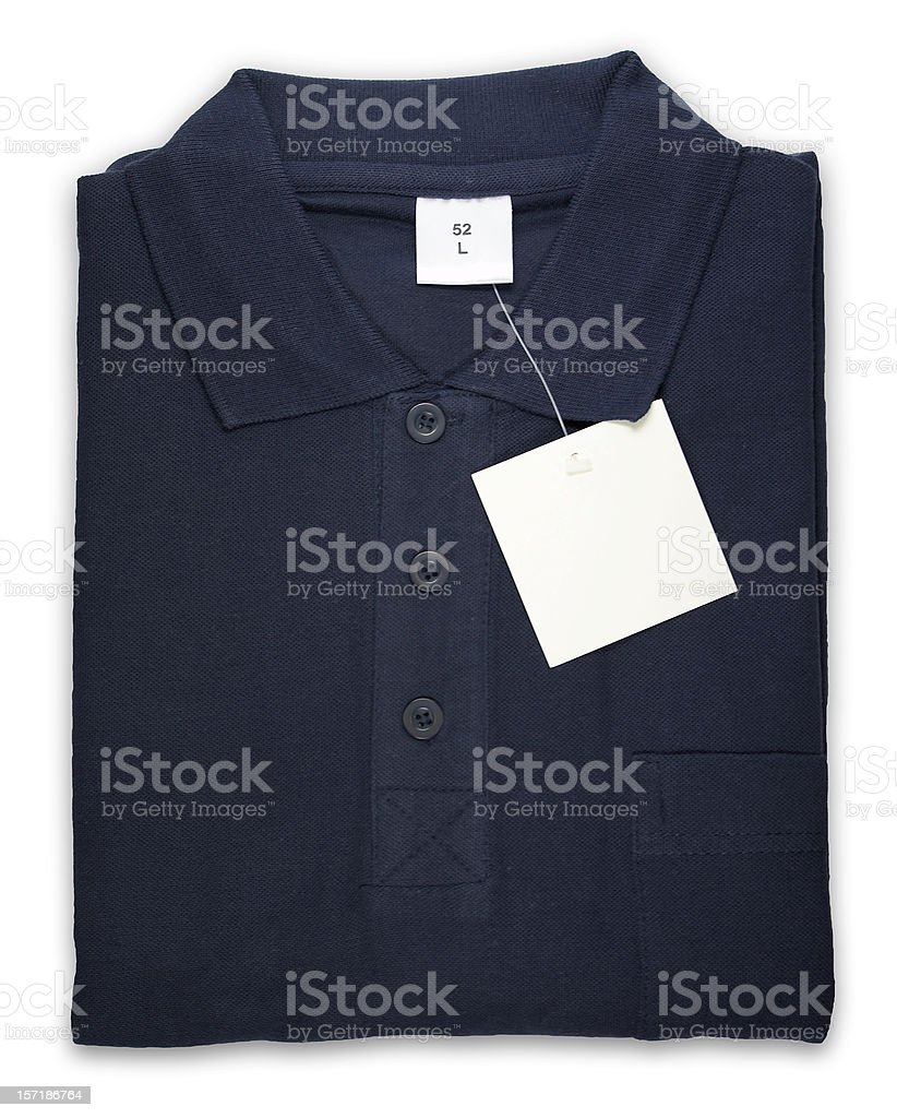 Polo shirt with blank tag, isolated on white background stock photo