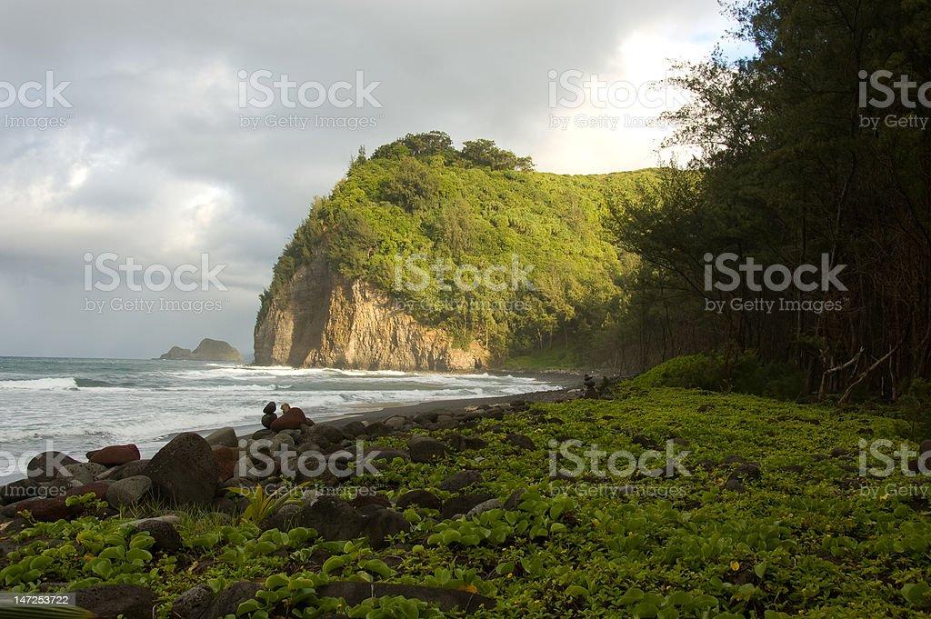 Pololu Valley Beach stock photo