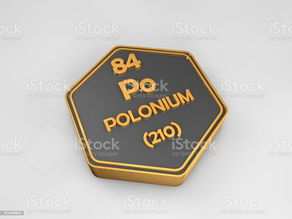 Polonium - po - chemical element periodic table hexagonal shape 3d render stock photo
