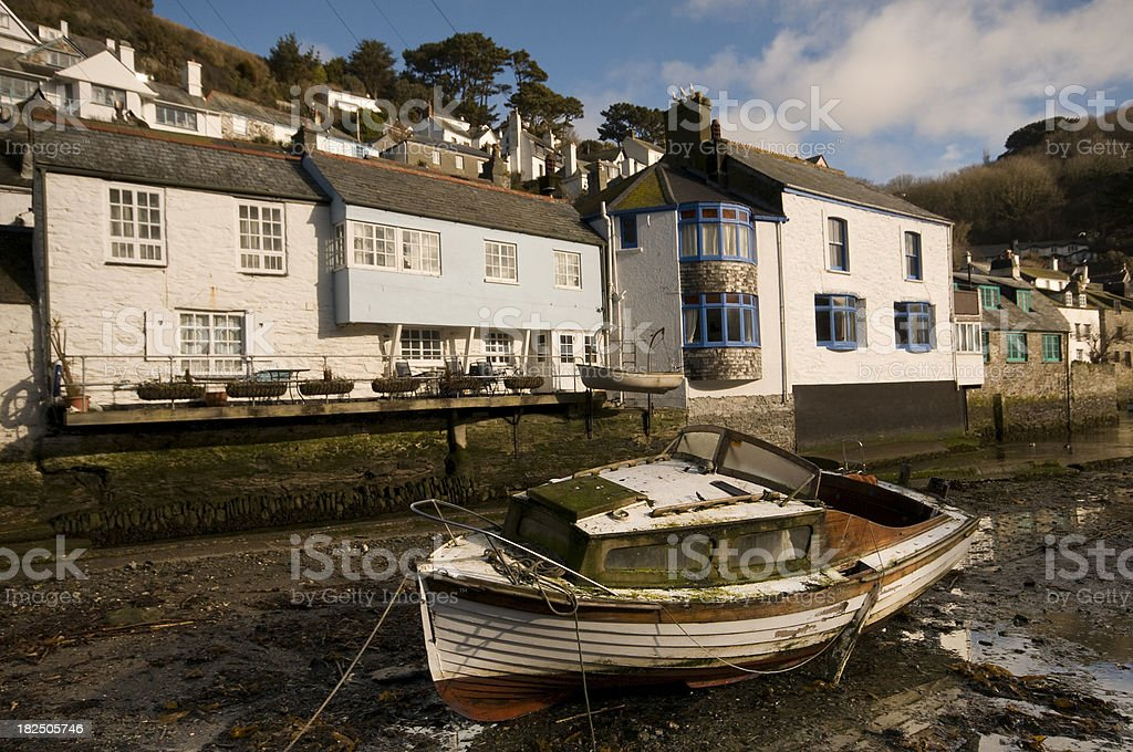 Polperro Harbour at Low Tide stock photo