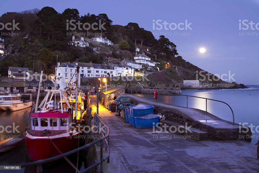 Polperro Harbour at Night stock photo