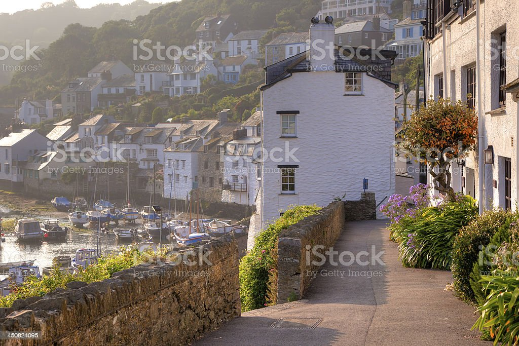 Polperro Harbour at Sunset stock photo