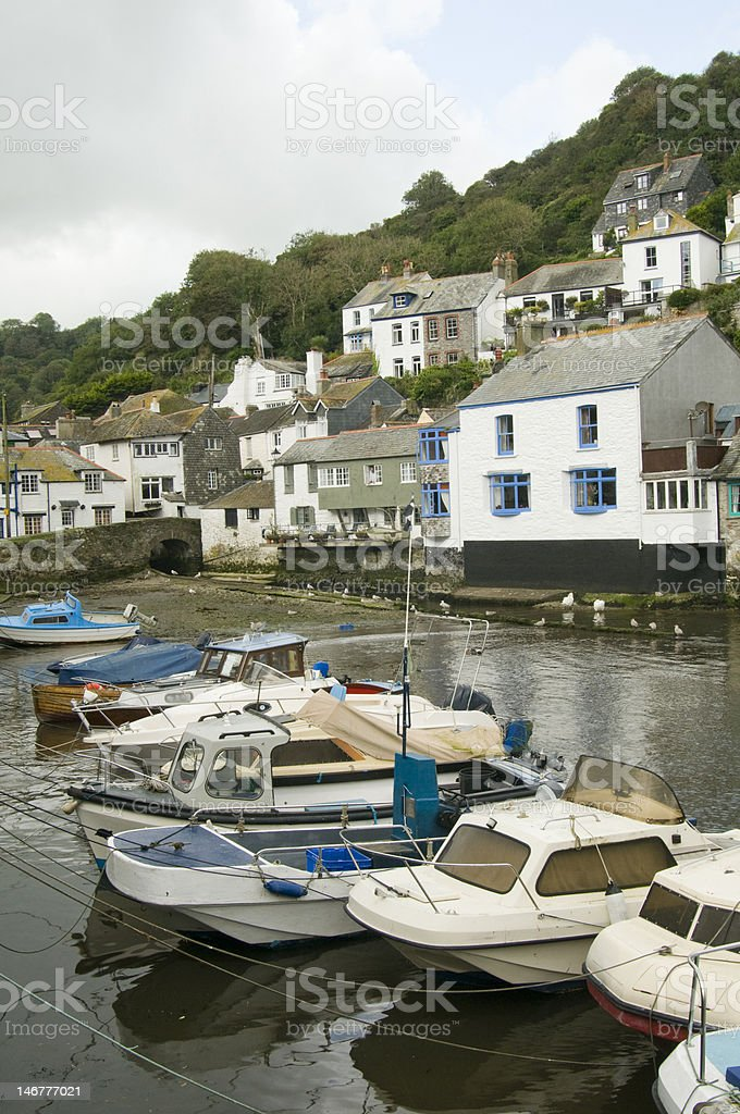 Polperro Village and Harbour in Cornwall stock photo