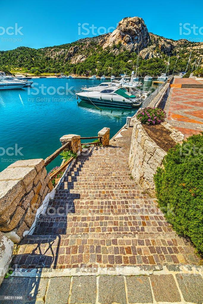 Poltu Quatu harbor on a clear day stock photo