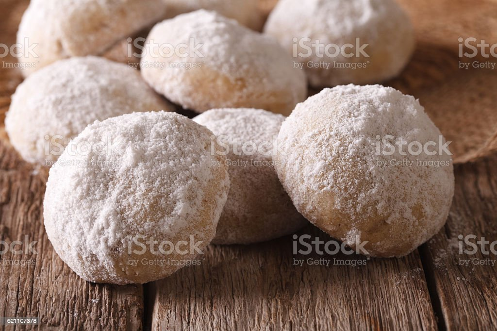 Polvoron freshly baked cookies closeup on table. horizontal stock photo