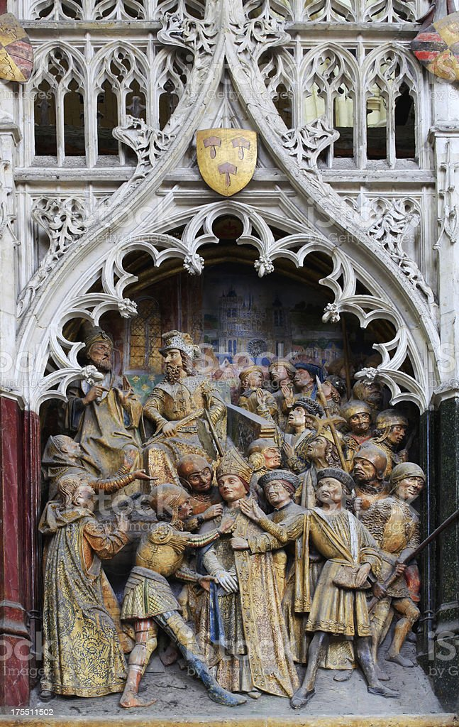 Polychrome, Cathedral Notre-Dame de Amiens, France royalty-free stock photo
