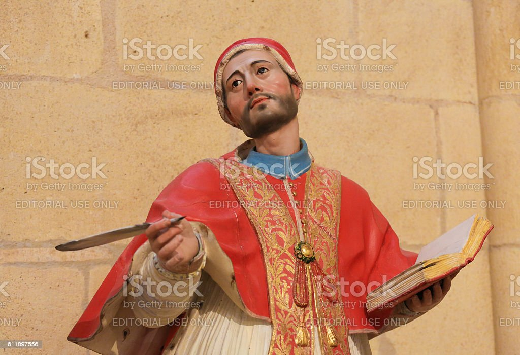 Polychrome Statue of a Theologian in Burgos Cathedral stock photo