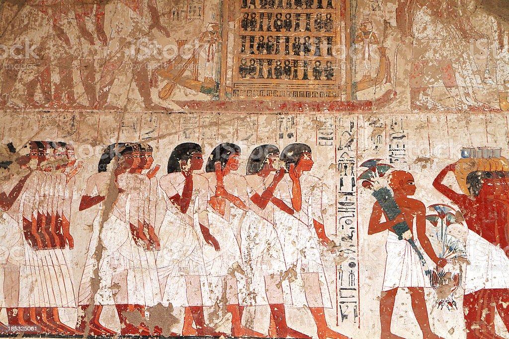 Polychrome Wall Painting, Tomb of Ramose, Theban Necropolis, Luxor, Egypt stock photo