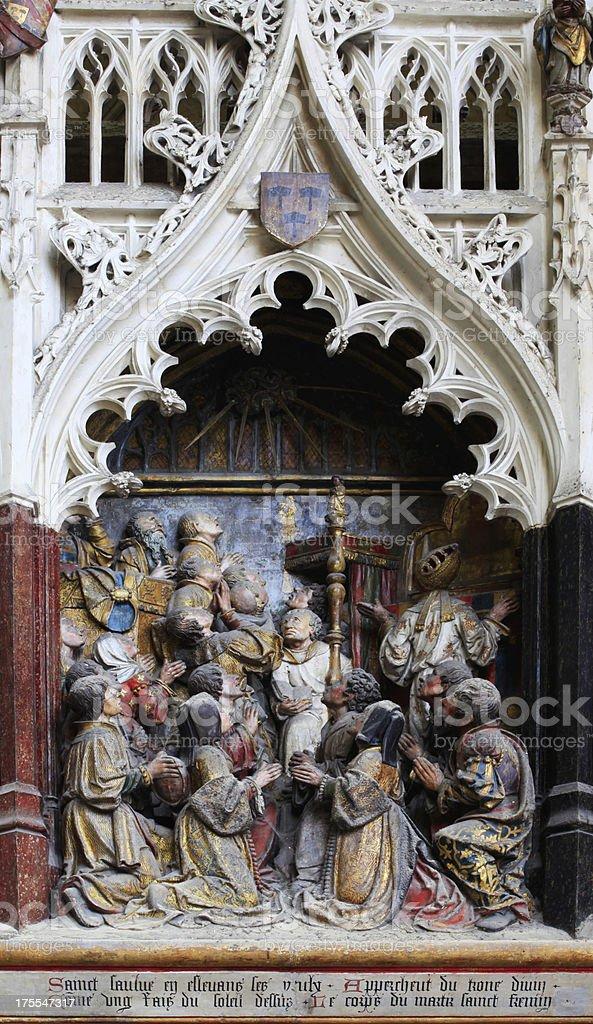 Polychrome,Notre-dame de Amiens, France royalty-free stock photo