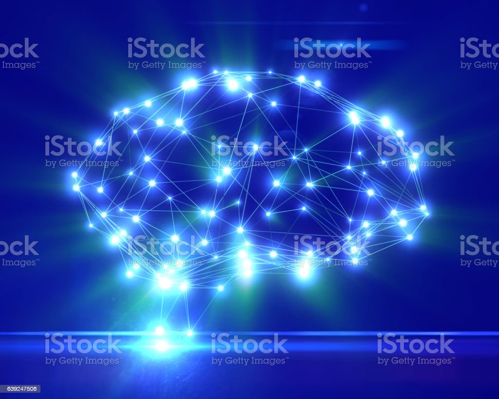 Polygonal brain shape with glowing lines and dots. stock photo