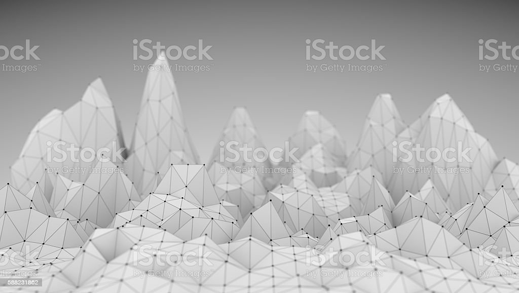 Polygonal Mosaic Background. Low poly mountains landscape stock photo