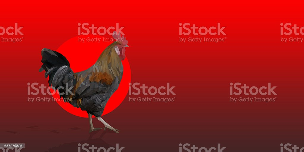 Polygonal Rooster leghorn cock on the red background stock photo