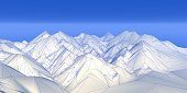 polygonal wireframe mountains 3d rendering