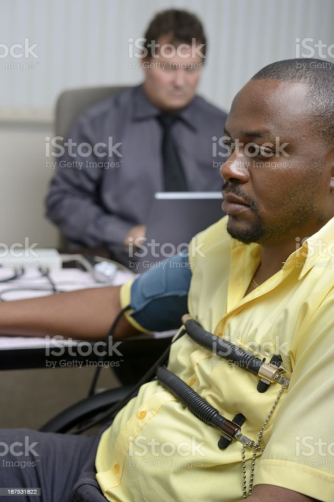 Polygraph test conducted stock photo