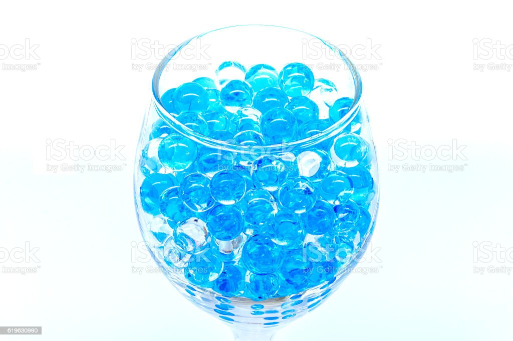 Polymer gel. Gel balls. balls of blue and transparent hydrogel, stock photo
