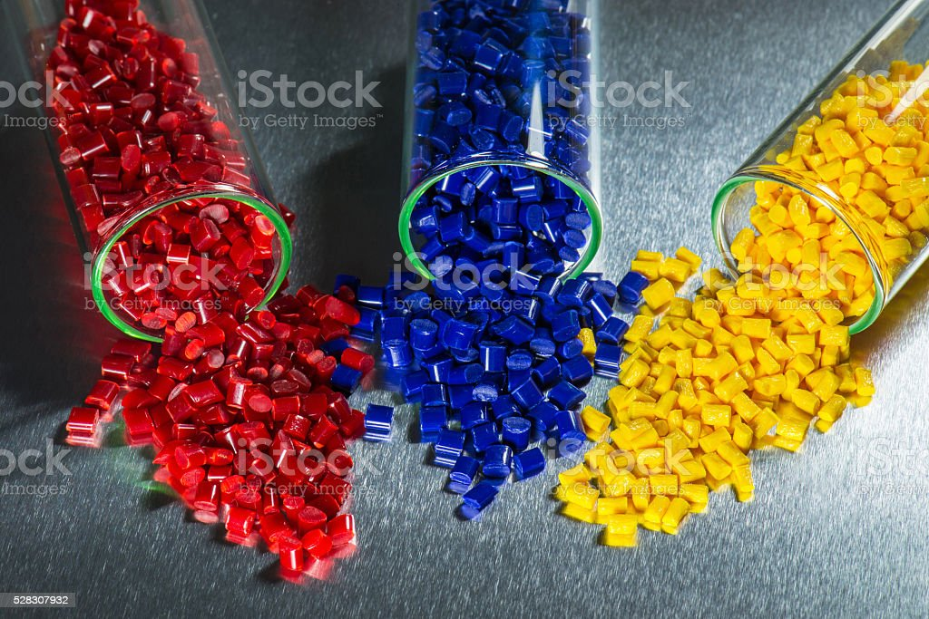 polymer resin in test glasses stock photo