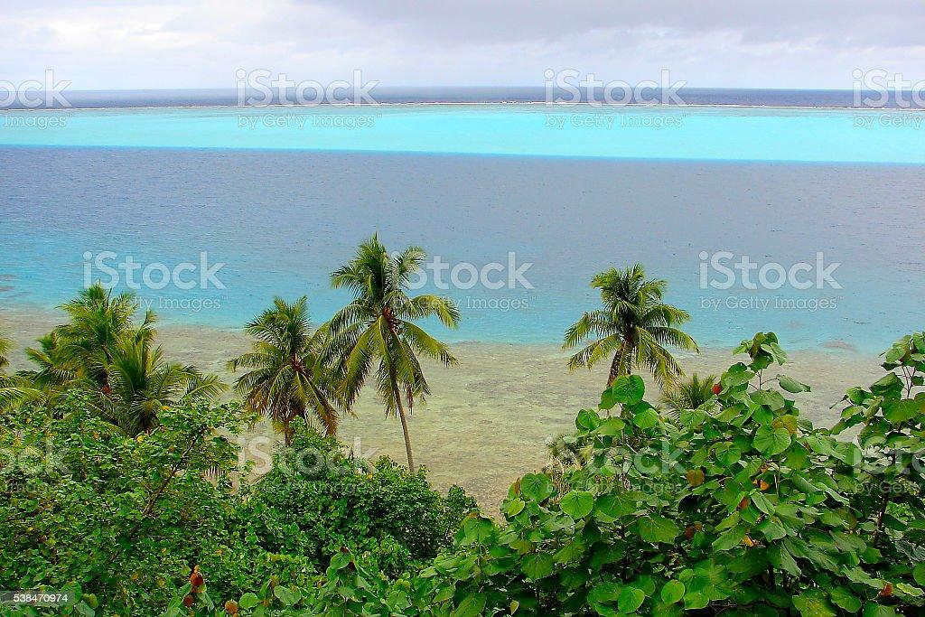 Polynesia tropical paradise: Huahine beach from above, Tahiti stock photo