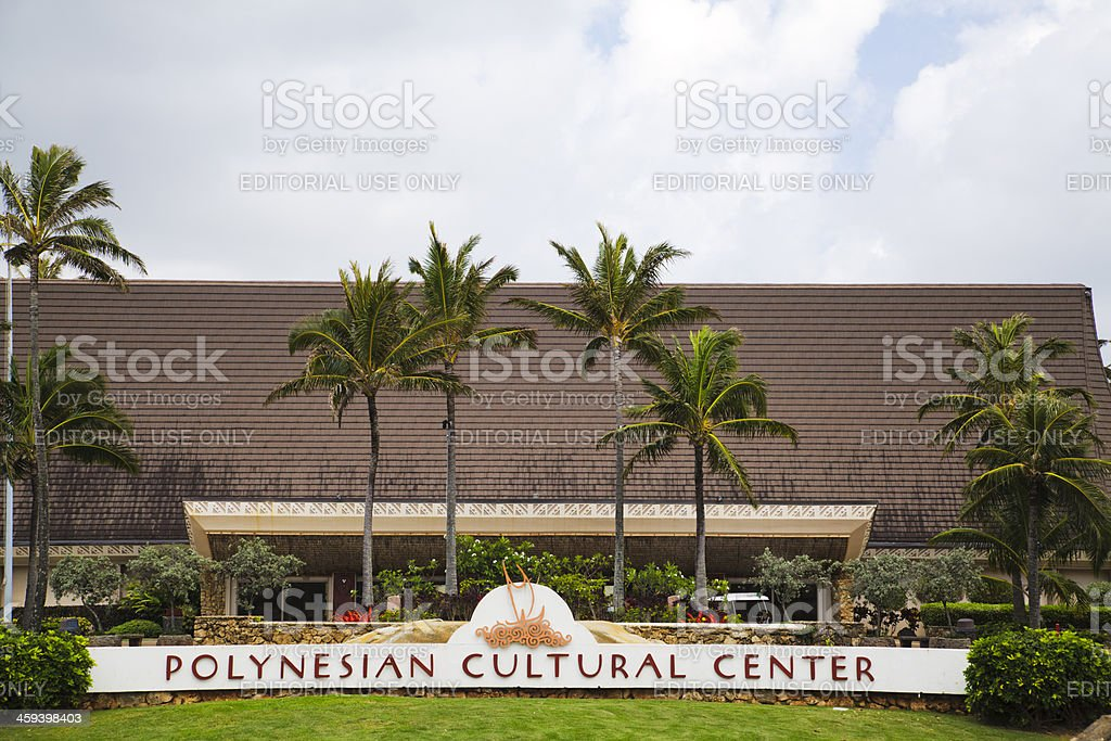 Polynesian Cultural Center sign, Oahu, Hawaii stock photo