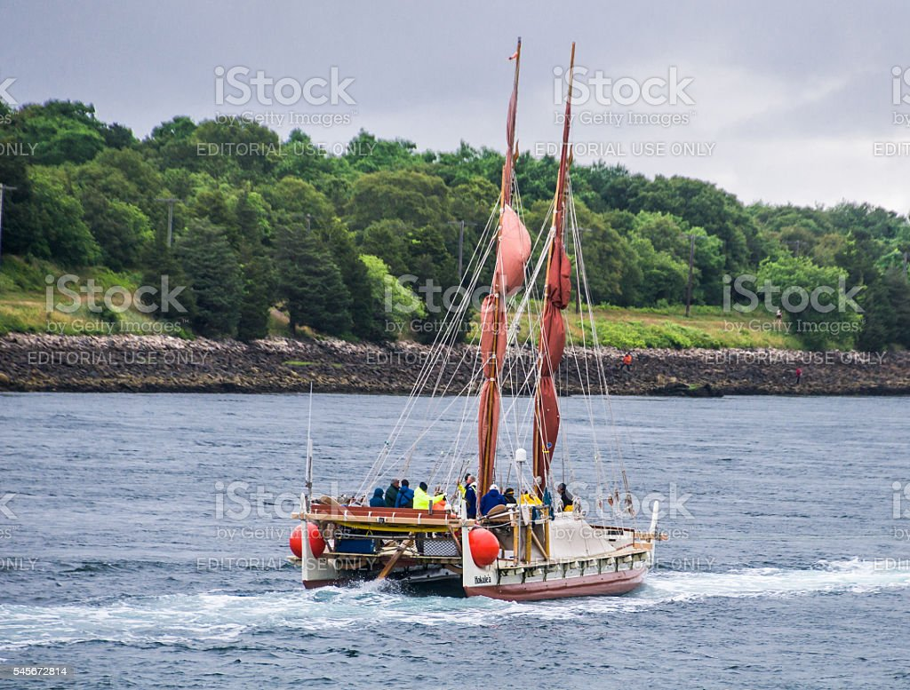 Polynesian Double-Hulled Canoe stock photo