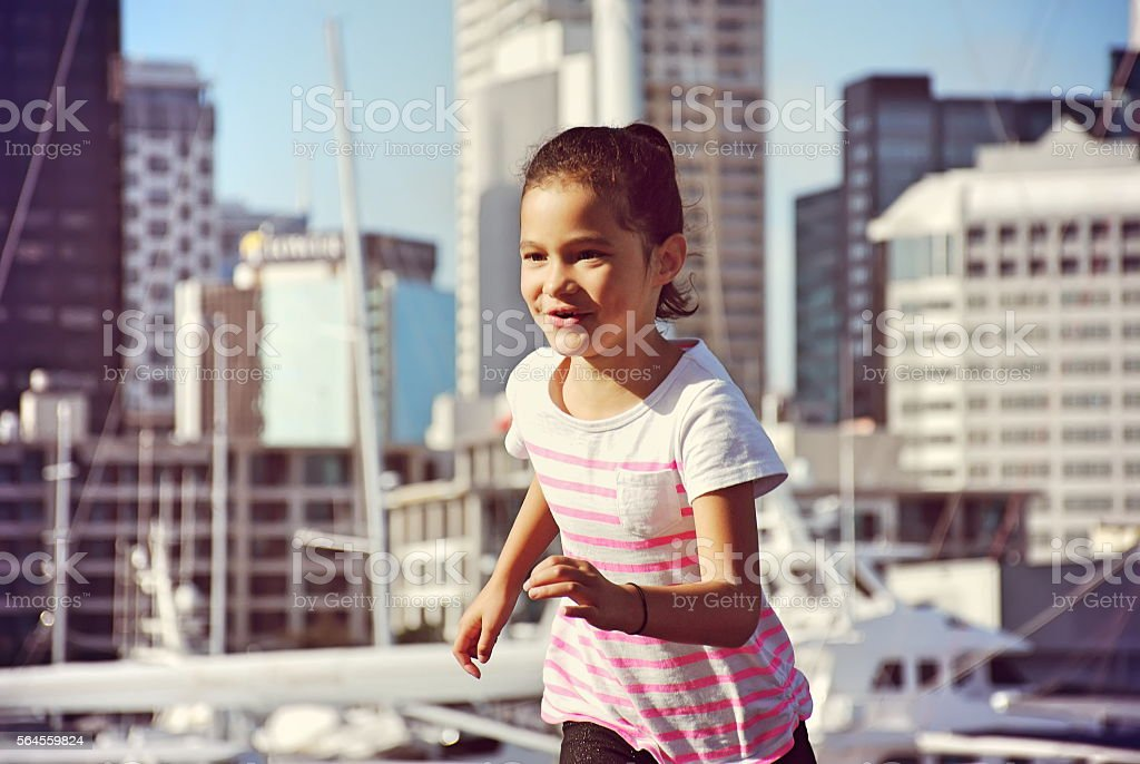 Polynesian Girl Running stock photo