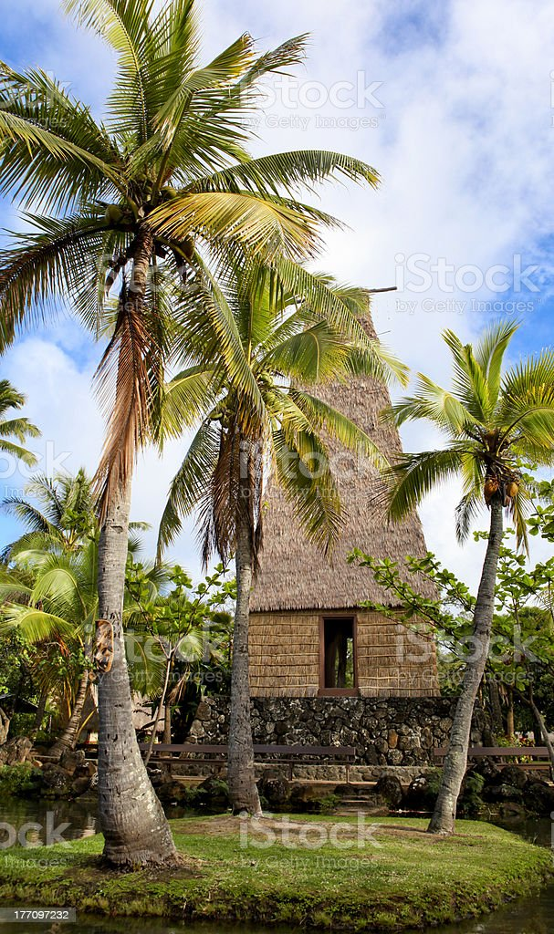 Polynesian hut on Oahu Island in Hawaii stock photo
