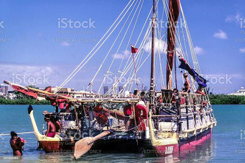 Polynesian Voyaging Canoe stock photo