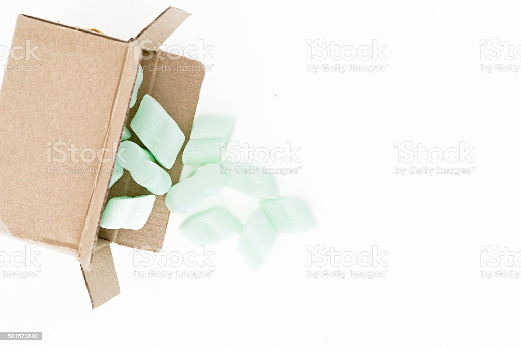 Polystyrene for protecting packaging stock photo