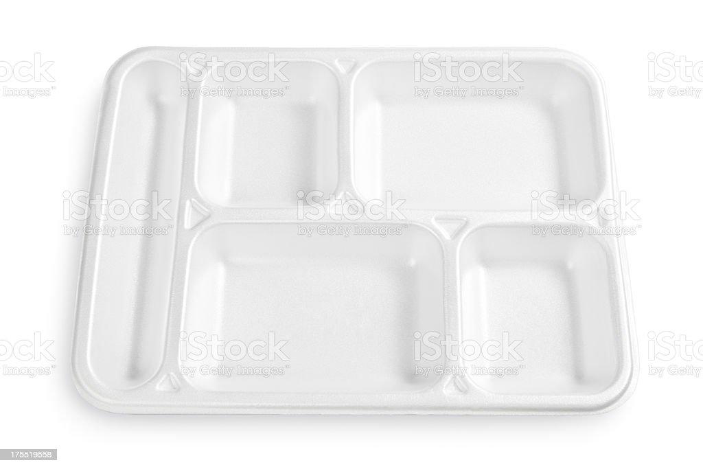 Polystyrene lunch tray stock photo