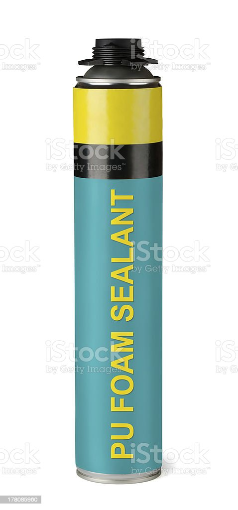 Polyurethane foam sealant stock photo