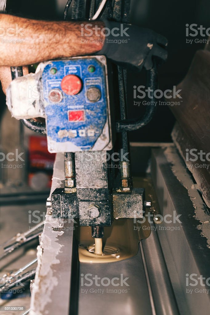 Polyurethane pouring stock photo