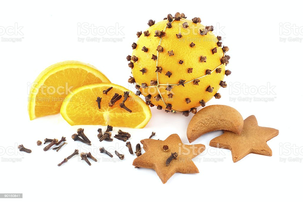 pomander and gingerbreads in the form of stars stock photo