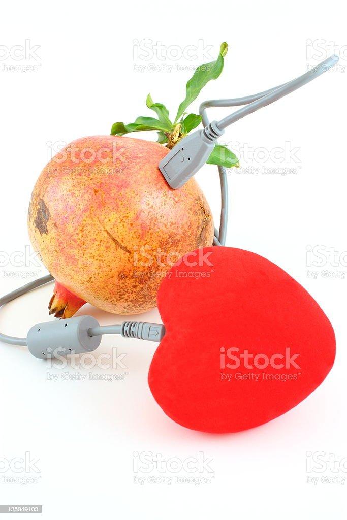 Pomegranate and heart shape royalty-free stock photo