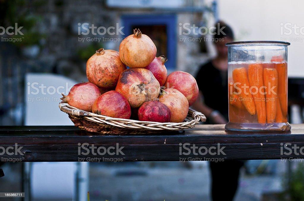 pomegranate and juicy carrot royalty-free stock photo
