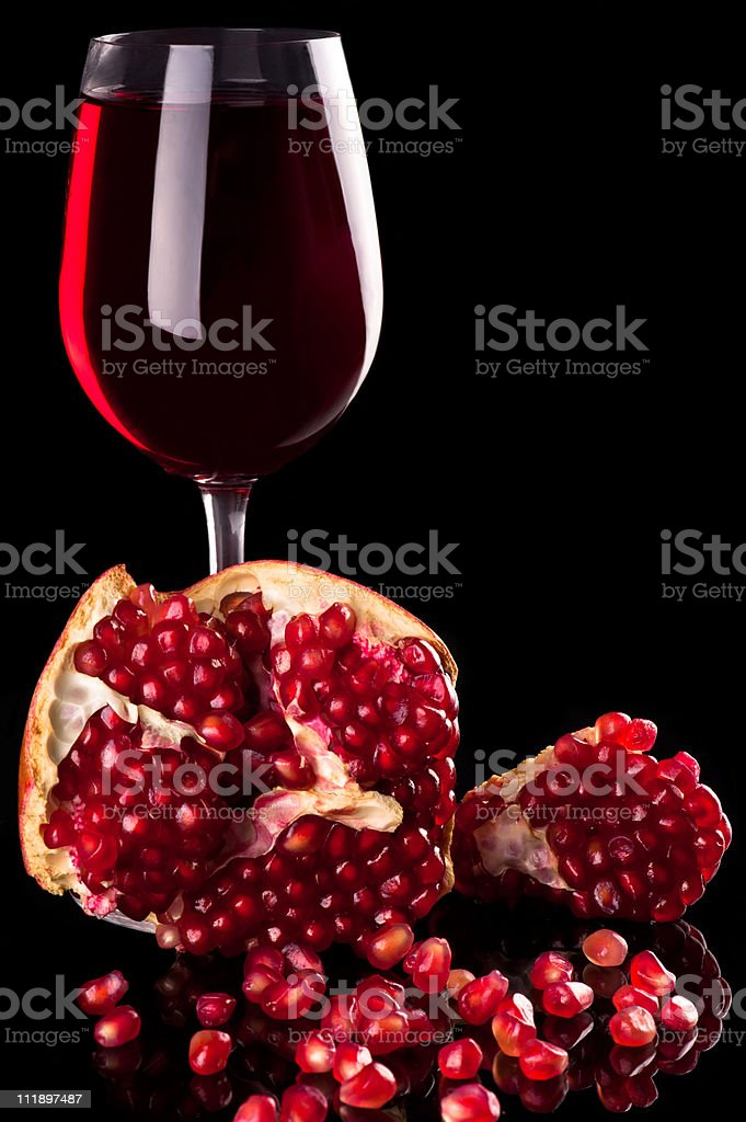 Pomegranate and red wine royalty-free stock photo