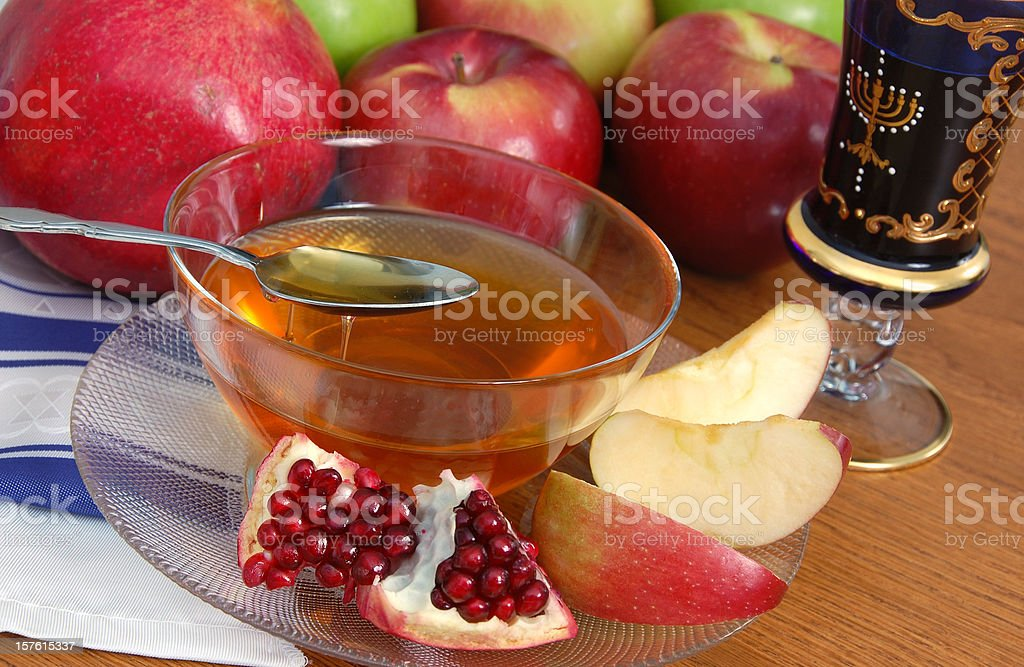 Pomegranate, Apples and Honey royalty-free stock photo
