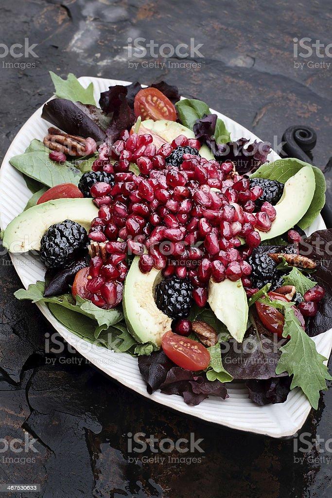 Pomegranate, Avocado and Blackberrry Salad stock photo