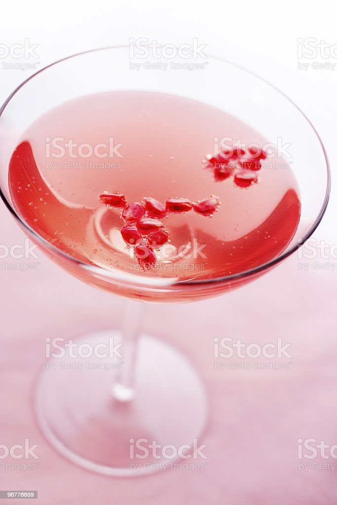 Pomegranate Champagne Cocktail stock photo