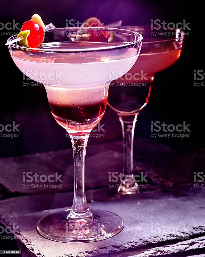 Pomegranate drink with cherry 90 stock photo