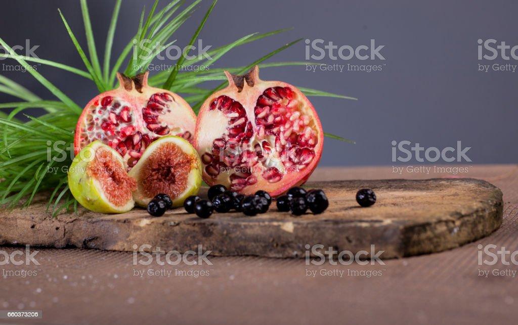 Pomegranate  fig and aronia stock photo