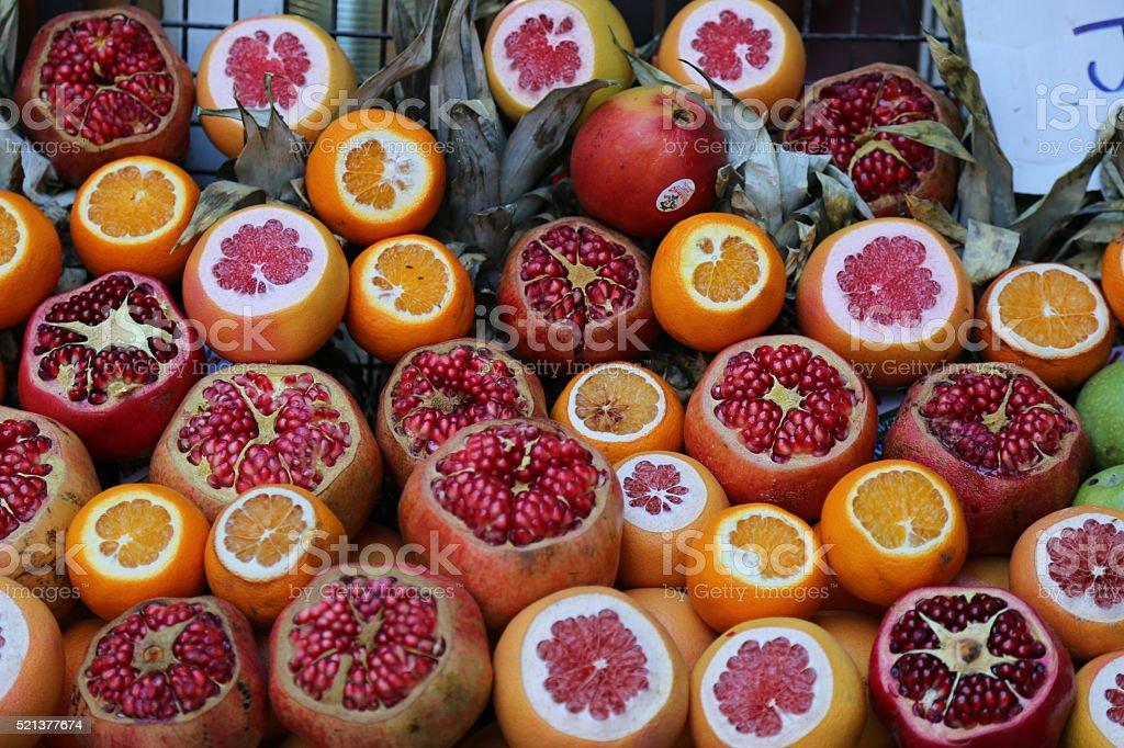 pomegranate grapefruit orange stock photo
